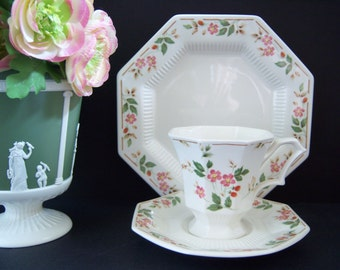 Teacup, Saucer, Plate -  Teacup Saucer Dessert Plate - Nikko Classic Collection Teacup Trio(s) - Tea Party - Teacup - Flower Teacup