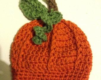 Crochet Pumpkin Hat, Pumpkin Beanie, Newborn Pumpkin Hat