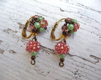 Petits Pois French Handmade in France beaded pendant earrings