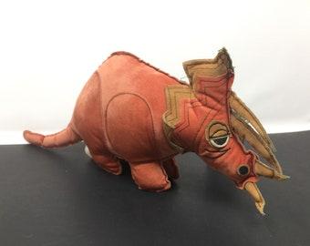 Vintage Dinosaur Triceratops Plush Stuffed Animal, Vintage Dinosaur Stuffed Animal. Vintage Triceratops, Vintage Dinosaur Plush Animal