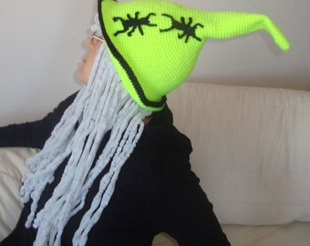 Witch hat wizard hat neon yellow crochet hat Halloween costume witch costume hat with long grey hair and black spider hat