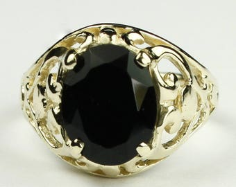 Black Onyx, 18KY Gold Ring, R004