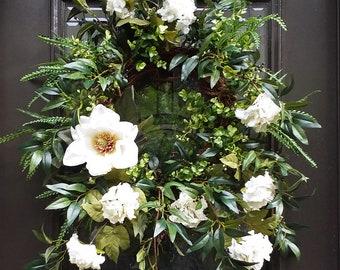 Magnolia Wreath, Spring Wreath Etsy, Spring Door Wreath, White Wreath, Floral Wreath, Hydrangea Wreath, Door Wreath, Summer Wreath
