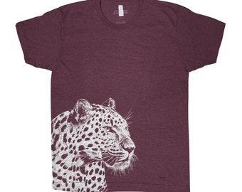 Leopard T-shirt Men Graphic Tee Custom Hand Screen Print Tri-Blend Short Sleeve