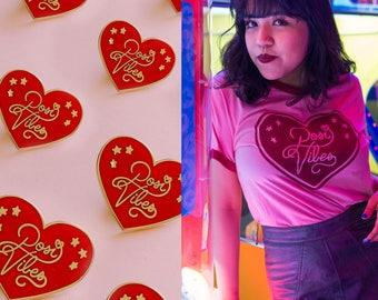 Posi Vibes Heart Enamel Pin With FREE Matching Ringer Tee