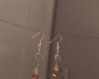 Spiral Orange Bead Earrings