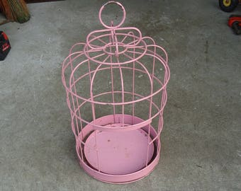 vintage pink bird cage small,decorative hanging wire metal bird cage,plant stand decor display