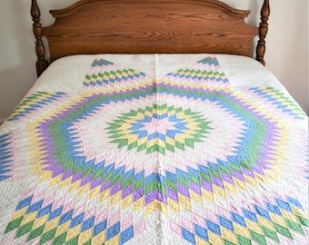 Antique Quilt, Antique Lone Star Quilt in Green, Yellow, Purple Multicolor, Handmade Vintage Quilt, Vintage Star Quilt