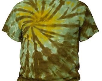 Tie Dye Green and Yellow Swirl T Shirt