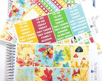 Autumn Squirrel Weekly Kit | Planner Stickers, Weekly Kit, fall weekly kit, Vertical Planner Kit, autumn weekly kit, squirrel weekly kit