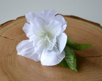 White Azalea Flower with Leaves Hair Accessory - floral hair pin
