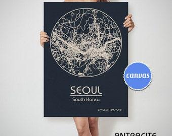SEOUL South Korea CANVAS Map Seoul South Korea Poster City Map Seoul South Korea Art Print Seoul South Korea