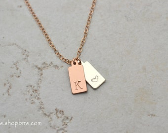 Initial Tag Necklace / Gold, Silver, Rose Gold / Personalized Initial Necklace, bridal necklace, bridesmaid gift