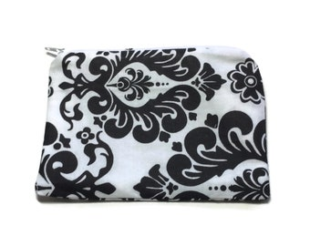 Reusable Snack Bag Zipper Damask White Black