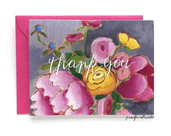 Floral thank you greeting card thanks flowers
