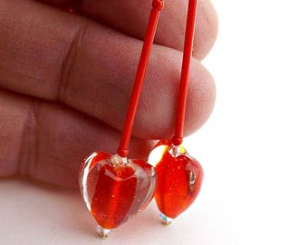 Bubbly Glass Red Center Heart Bead Earrings, Long Bright Red Heart Glass Earrings, Lampwork Glass Hearts, Theatrical Heart Bead Earrings