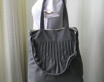 Sale - Grey Canvas Messenger Bag - Diaper bag / Tote / Handbag / Shoulder bag / Women -IRENE
