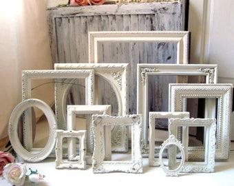 Cream Picture Frame Set, Rustic Farmhouse Frames, Nursery Frames, Shabby Chic Frames, Vintage Picture Frames, Gallery Wall, Wedding Frames