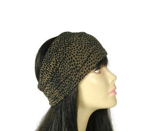 Black and Brown Animal Print Head Wrap Lycra Wide Head Wrap Wide Headband Leopard Head Wrap Cheetah Head Wrap Animal Print Workout Headband