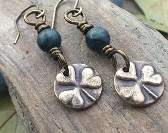 Anniversary Gifts, Shamrock Earrings, Irish Clovers, Connemara Marble, Irish Shamrock, Irish Celtic Jewelry, Clover Earrings, Gifts for Her