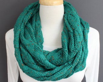 Teal cable knit infinity scarf soft chunky knit circle endless loop long circular teal green speckled confetti cabled scarf fall winter