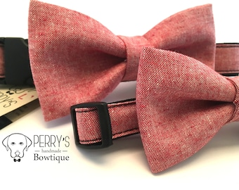 Salmon Colour Bow Tie and Collar