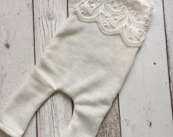 Newborn Photo Prop Lace Trim Romper