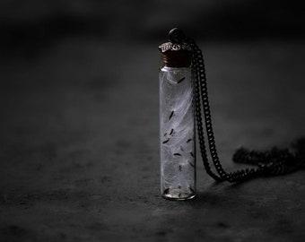 Fairytale vial necklace, dandelion necklace, glass bottle necklace,