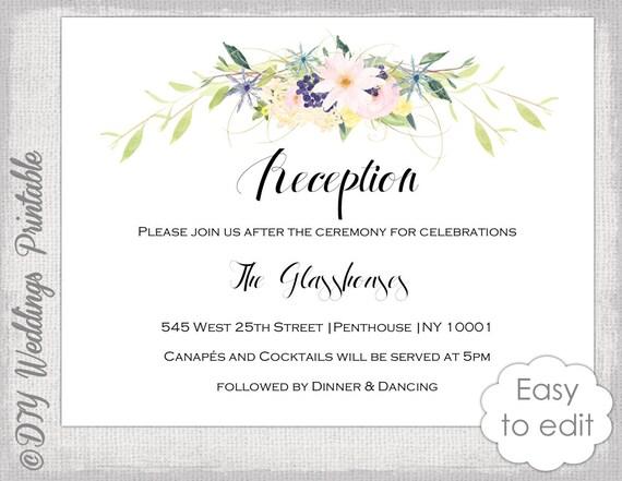 Empfang Einladung Vorlage druckbare Blumen Girlande Gehäuse