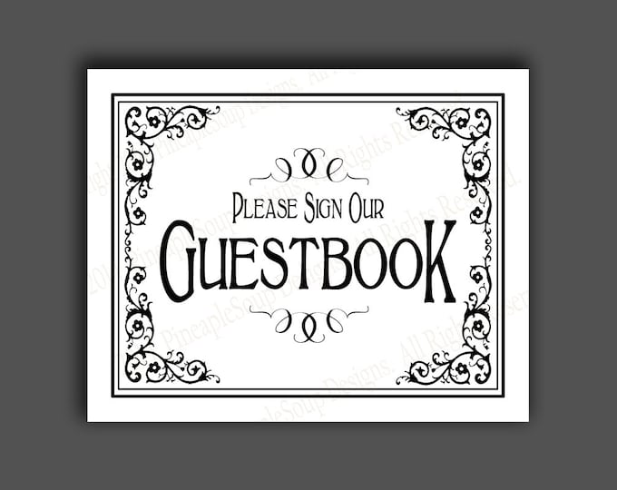 PRINTABLE Guestbook Wedding sign - Please sign our guestbook - Traditional Black and white Black Tie design