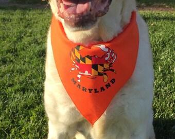 Dog Bandana,Maryland Crab, Maryland Flag, Chesapeake Bay, Baltimore,