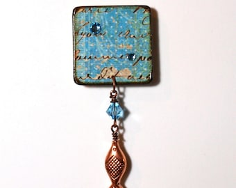 Fish Pin Light Blue Decoupaged Square Lapel Pin Brooch Copper Fish Brooch Gifts for Her Scarf Pin