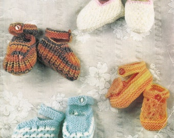baby shoes knitting pattern PDF vintage use dk yarn to fit 3-9 months