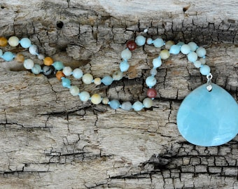 Amazonite Pendant Necklace, Pendant Necklace, Knotted Necklace, Gemstone Necklace, Boho Necklace, Gift for her