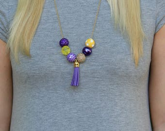Game Day Necklace, Purple and Gold Necklace, Purple and Gold Jewelry, College Necklaces, College Jewelry, University Necklaces