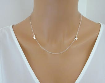 Tiny Moon necklace, Sideways Star Necklace, Crescent Moon Necklace, Moon pendant, Dainty Sterling Silver  star and moon Necklace