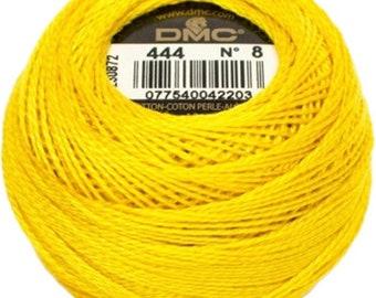 DMC 444 Perle Cotton Thread | Size 8 | Dark Lemon Yellow