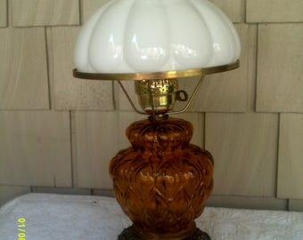 Vintage Amber Glass Lamp With Milk Glass Shade, Hurricane Style Lamp, Glass  Table Lamp, Glass Shade Lamp, Early American Lamp
