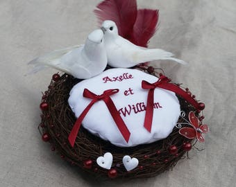 Ring bearer nest Burgundy and white wedding embroidered personalized names