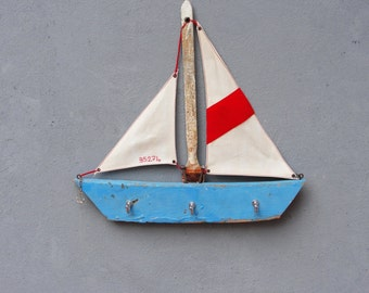 Sail Away Jewelry Storage Organizer Rack, Towel Holder, Coat Rack Boatwood, Driftwood, Textile, Metal Beach Home Decor