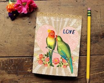 Love Bird Journal -Handmade Notebook - Blank Journal - Quote Art Notebook  - Writing journal - Sketchbook - Blank Notebook