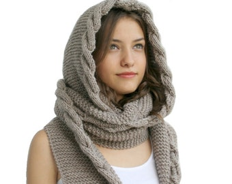 Hand Knit Milky Brown Wool Hooded Scarf / Cabled Long Hoodie Scarves / Wool Cowl / Knit Scarves, Knit Accessories, Outdoors Gift