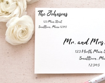 Printable Return Address Labels Template | Brush Calligraphy Mailing Labels for Wedding Invitations and Announcements