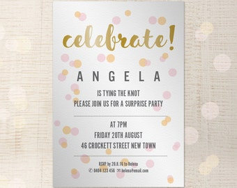 Party Invitation Customisable A5 InDesign template - printable, hen's night, birthday party