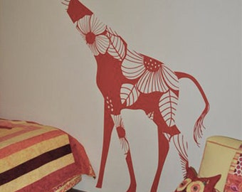 Floral Giraffe Wall Decal by LittleLion Studio. Modern and Romatic Safari Decor