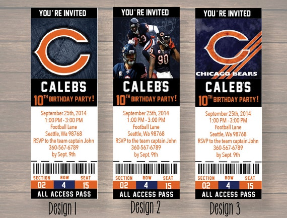 Chicago bears custom party ticket invitations birthday like this item filmwisefo Choice Image