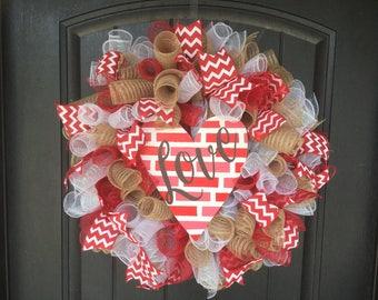 Red, White, Tan, LOVE, wooden heart round deco mesh Wreath