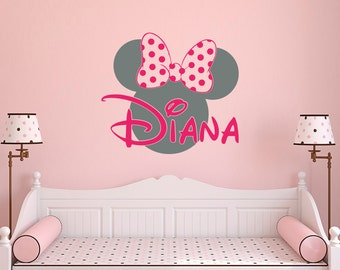 Girl Name Wall Decal  Minnie Mouse Wall Decals  Wall Decals Nursery Girls  Bedroom Decor