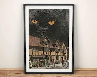 Black cat print, cat print, Black Cat Decor ,Modern Decor , Cat Wall Art, Retro print, Night print