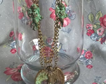 Verdigre Brass Cherub And Angels On Vintage Brass Chain Necklace